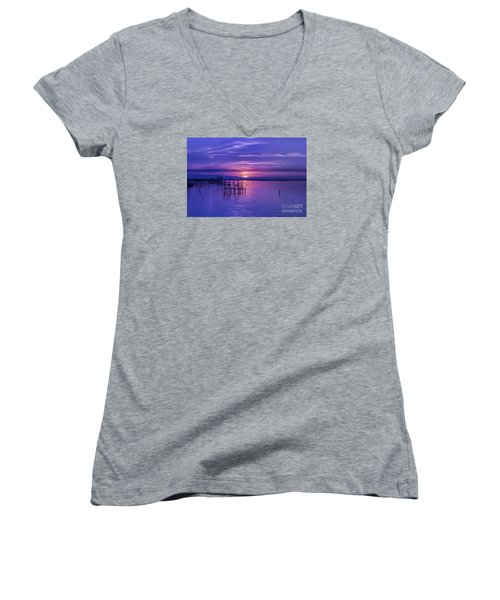 Rest Well World Purple Sunset Women's V-Neck (Athletic Fit)