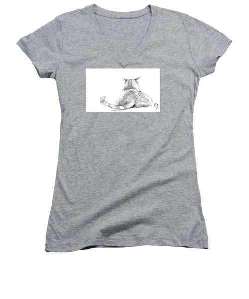 Resting Cat Women's V-Neck T-Shirt