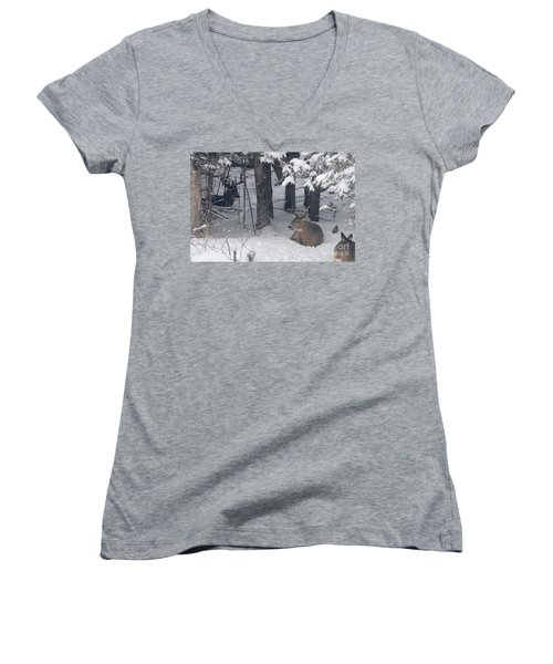Resting Women's V-Neck T-Shirt (Junior Cut) by Sandra Updyke