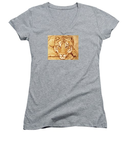 Resting Tiger Women's V-Neck T-Shirt (Junior Cut) by Dale Loos Jr