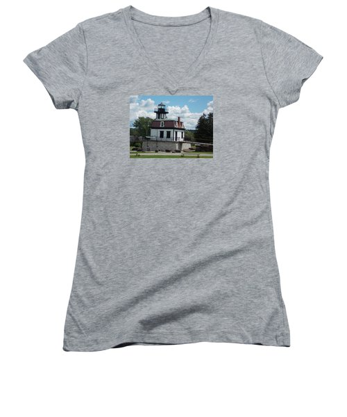 Restored Lighthouse Women's V-Neck T-Shirt (Junior Cut) by Catherine Gagne