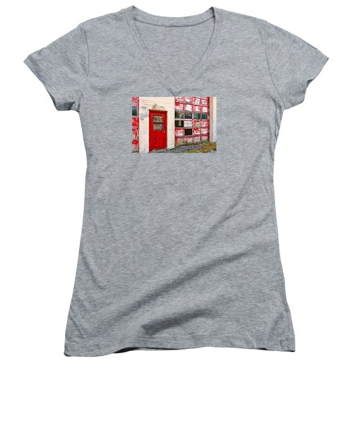 Women's V-Neck T-Shirt (Junior Cut) featuring the photograph Retired Garage by Christopher Holmes