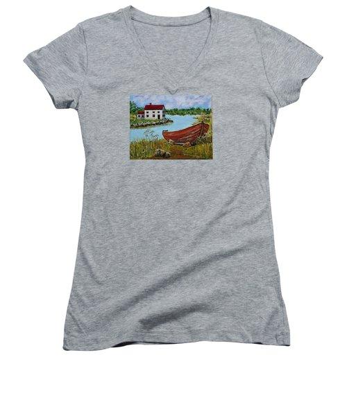 Retired Women's V-Neck T-Shirt (Junior Cut) by Mike Caitham
