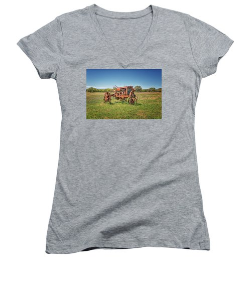 Retired Tractor Women's V-Neck (Athletic Fit)