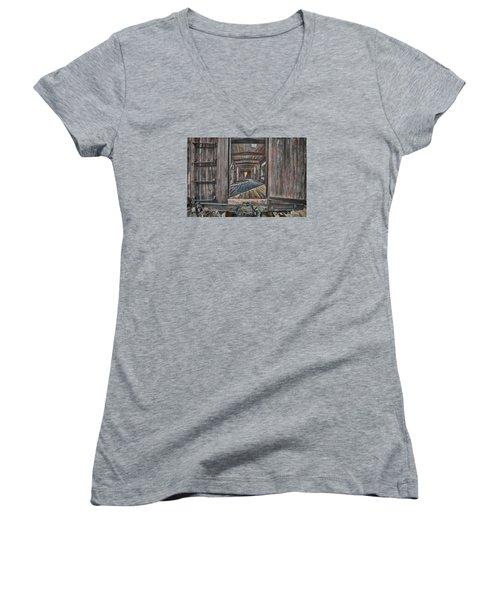 Women's V-Neck T-Shirt (Junior Cut) featuring the photograph Retired Train Car Jamestown by Steve Siri