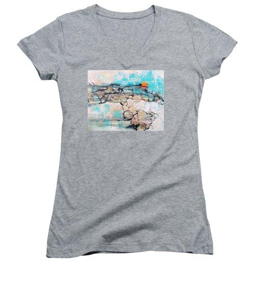 Retreat Women's V-Neck T-Shirt (Junior Cut) by Mary Schiros