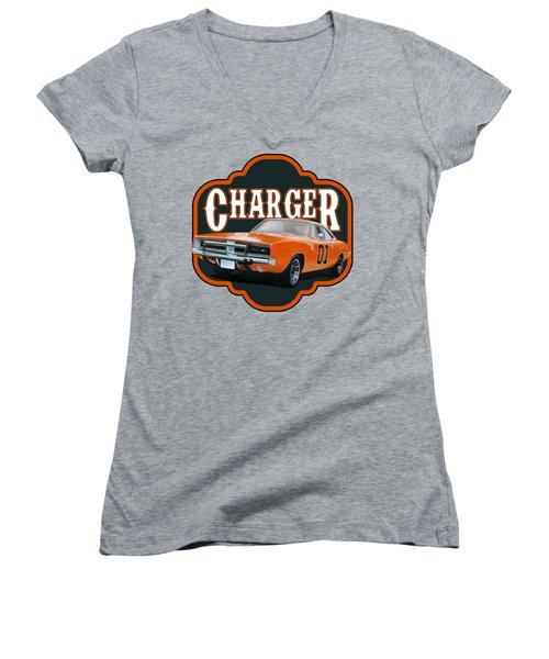 Retro Charger Women's V-Neck (Athletic Fit)