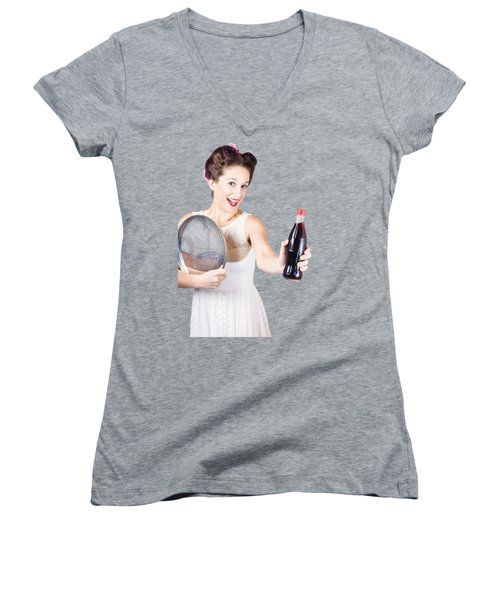 Retro Pin-up Girl Giving Bottle Of Soft Drink Women's V-Neck T-Shirt
