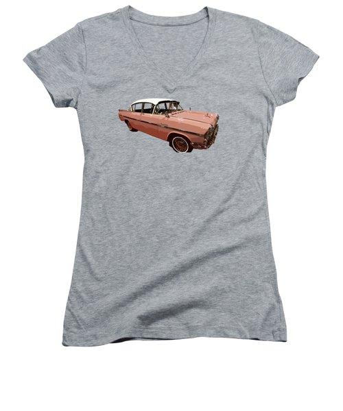 Retro Pink Car Art Women's V-Neck (Athletic Fit)