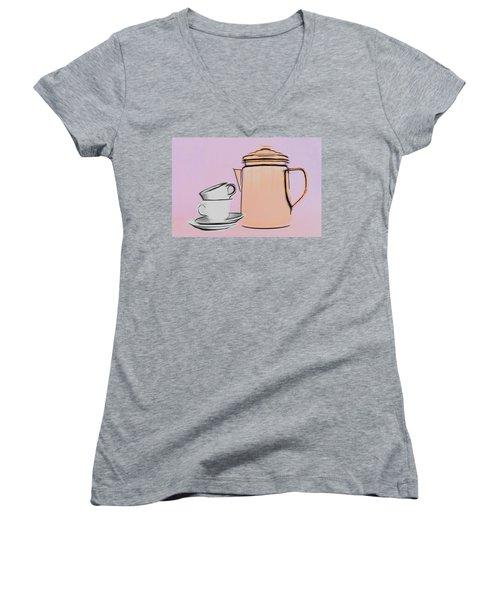 Women's V-Neck T-Shirt (Junior Cut) featuring the photograph Retro Style Coffee Illustration by Tom Mc Nemar
