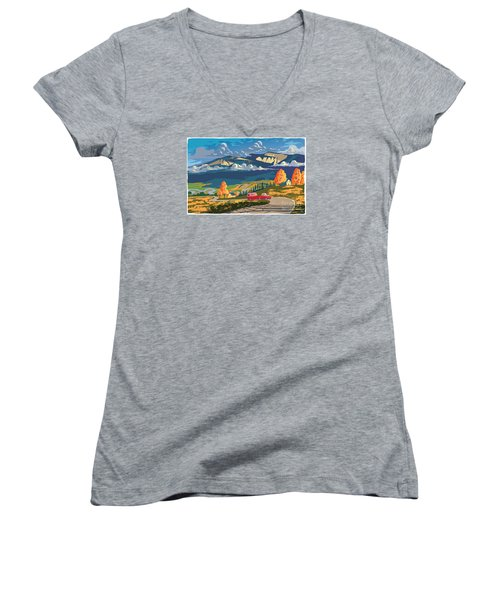 Retro Travel Autumn Landscape Women's V-Neck (Athletic Fit)