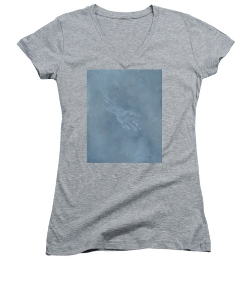 Women's V-Neck T-Shirt featuring the painting Return To Dust by Judith Rhue