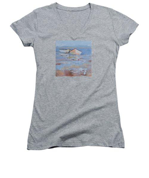 Returning Tides Women's V-Neck T-Shirt (Junior Cut) by Trina Teele