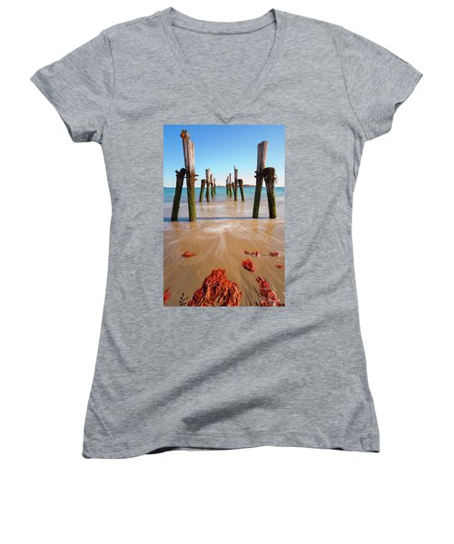 Women's V-Neck featuring the photograph Returning To The Ocean by Brian Hale