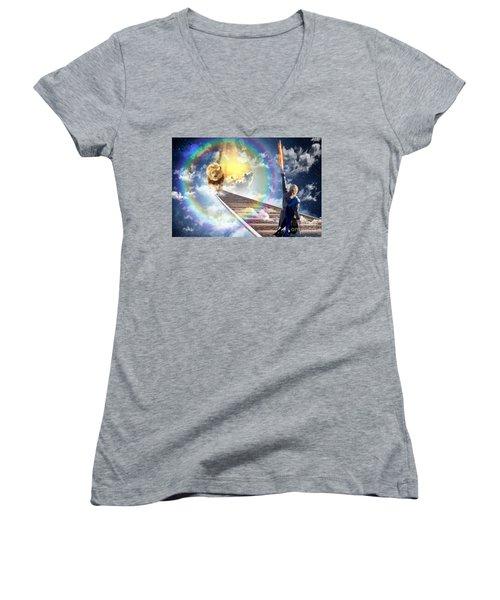 Reward Women's V-Neck T-Shirt (Junior Cut) by Dolores Develde