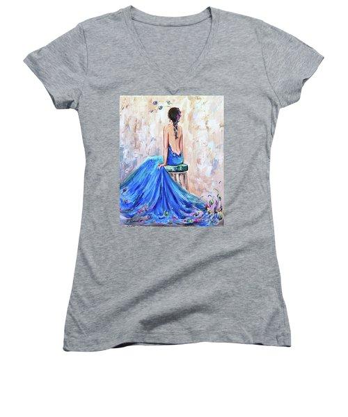 Rhapsody In Blue Women's V-Neck T-Shirt