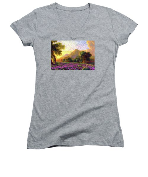 Women's V-Neck T-Shirt (Junior Cut) featuring the painting Rhododendrons, Rabbits And Radiant Memories by Jane Small