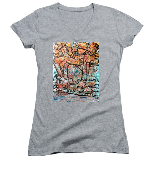 Women's V-Neck T-Shirt (Junior Cut) featuring the mixed media Rhythm Of The Forest by Genevieve Esson