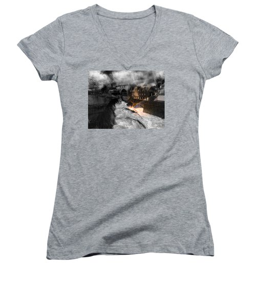 Rainbow In The Mist Women's V-Neck T-Shirt (Junior Cut) by Sherman Perry
