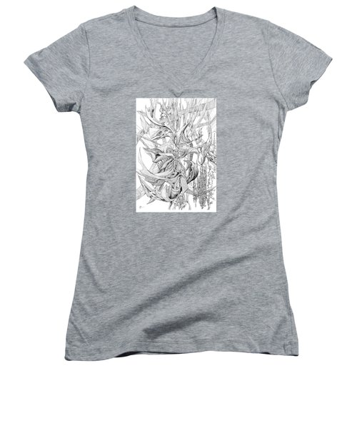 Ribboned Women's V-Neck T-Shirt (Junior Cut) by Charles Cater