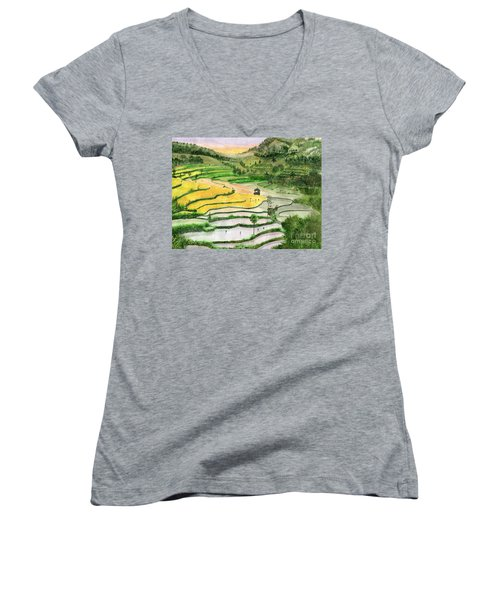 Ricefield Terrace II Women's V-Neck T-Shirt (Junior Cut) by Melly Terpening
