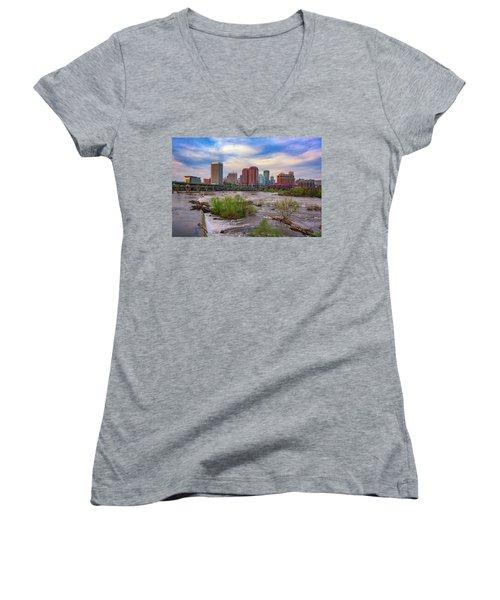 Women's V-Neck T-Shirt (Junior Cut) featuring the photograph Richmond Skyline by Rick Berk