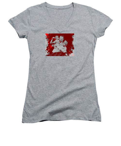 Rick Grimes Women's V-Neck T-Shirt (Junior Cut) by David Kraig
