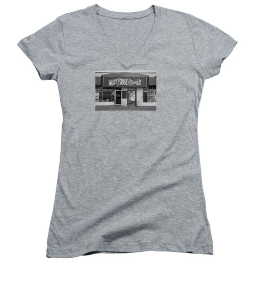 Rick's Cafe East Lansing  Women's V-Neck T-Shirt (Junior Cut)