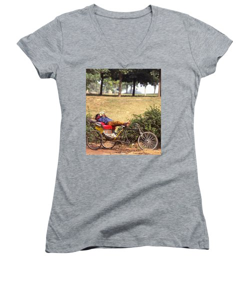 Rickshaw Rider Relaxing Women's V-Neck T-Shirt (Junior Cut) by Travel Pics