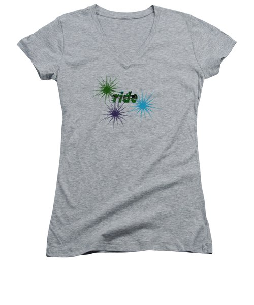 Ride Text And Art Women's V-Neck T-Shirt (Junior Cut) by Mim White
