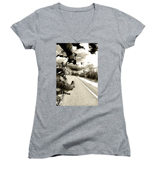 Ride To Live Women's V-Neck T-Shirt (Junior Cut) by Micah May