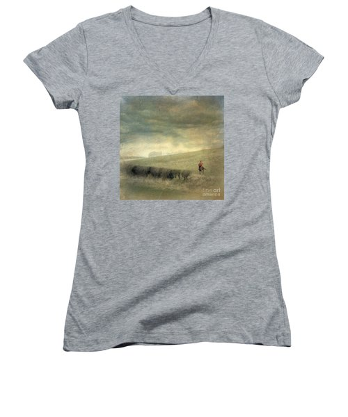 Rider In The Storm Women's V-Neck T-Shirt