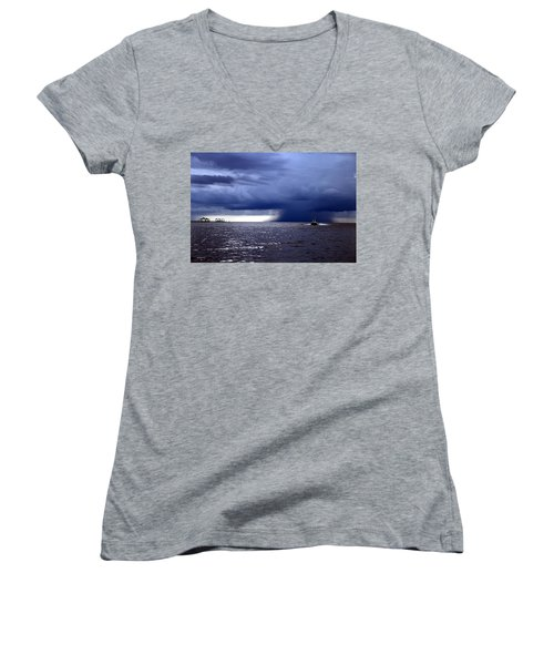 Riders On The Storm Women's V-Neck T-Shirt (Junior Cut) by Rdr Creative