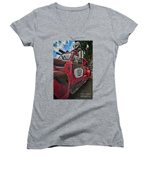 Ridgway Fire Truck Women's V-Neck (Athletic Fit)