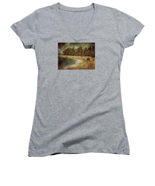 Riding On The Beach Women's V-Neck T-Shirt (Junior Cut) by Vittorio Chiampan
