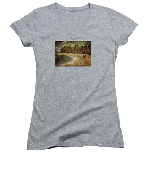 Riding On The Beach Women's V-Neck (Athletic Fit)