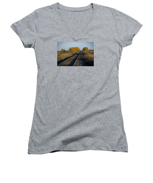 Riding The Rails Women's V-Neck T-Shirt (Junior Cut) by Ellery Russell