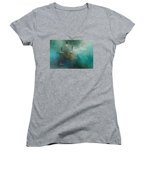 Riding The Winds Women's V-Neck T-Shirt (Junior Cut) by Marvin Spates