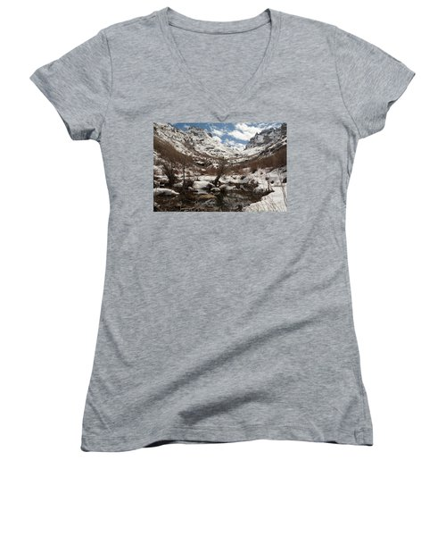 Women's V-Neck T-Shirt (Junior Cut) featuring the photograph Right Fork Canyon by Jenessa Rahn