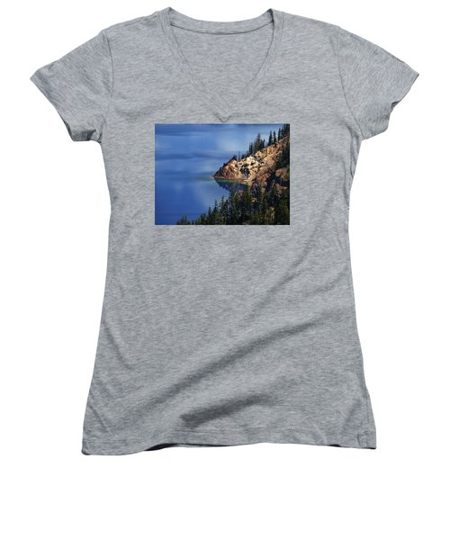 Right Side Of Crater Lake Oregon Women's V-Neck (Athletic Fit)