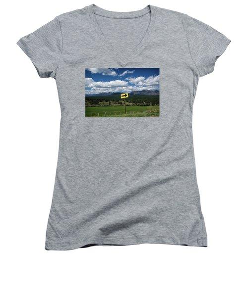 Right This Way Women's V-Neck T-Shirt (Junior Cut) by Jason Coward