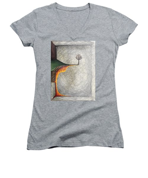 Women's V-Neck T-Shirt (Junior Cut) featuring the mixed media Right Universe by Steve  Hester