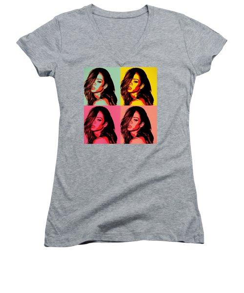 Rihanna Pop Art Women's V-Neck (Athletic Fit)