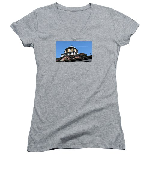 Women's V-Neck T-Shirt (Junior Cut) featuring the photograph Rila Monastery Photograph by Milena Ilieva
