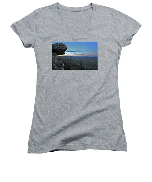 Women's V-Neck T-Shirt (Junior Cut) featuring the photograph Rim Daybreak by Gary Kaylor