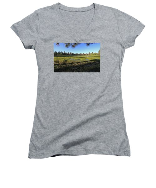 Women's V-Neck T-Shirt (Junior Cut) featuring the photograph Rim Glade by Gary Kaylor