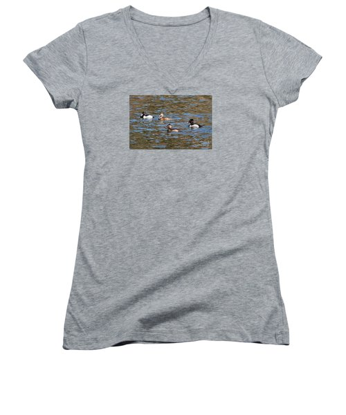 Women's V-Neck T-Shirt (Junior Cut) featuring the photograph Ring Neck Ducks 20120314_d by Tina Hopkins