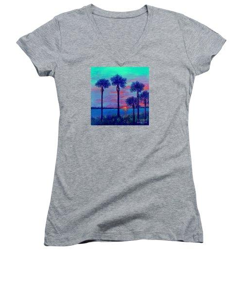 Ringling Bridge Sunset Women's V-Neck T-Shirt (Junior Cut) by Lou Ann Bagnall