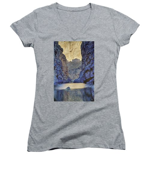Women's V-Neck T-Shirt (Junior Cut) featuring the tapestry - textile Rio Grand, Santa Elena Canyon Texas 2 by Kathy Adams Clark
