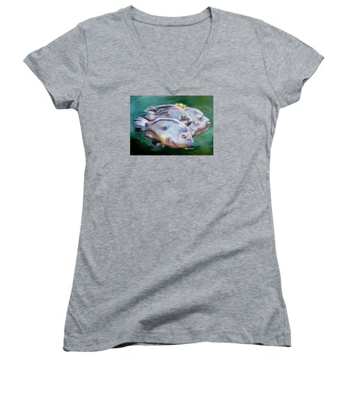 Women's V-Neck T-Shirt (Junior Cut) featuring the painting Rio Grande Cichlids by Phyllis Beiser